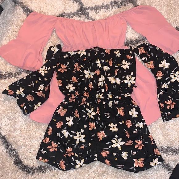 2 ROMPER BUNDLE/ Pink chiffon & black floral